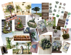 Mood board for a wedding