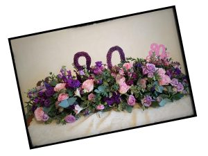 80th Birthday Floral Table Centre