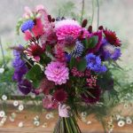 Hot pink and blue bridal bouquet