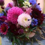 Bright, dark and blue bridal bouquet