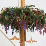 Hanging floral hoops in Falconhurst Marquee