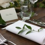 White and green classic table setting