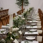 Classic green and white trestle tables