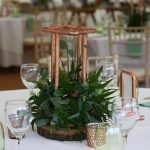 low table centres, copper wedding, foliage wedding