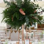 copper wedding, tall tablecentre, foliage wedding