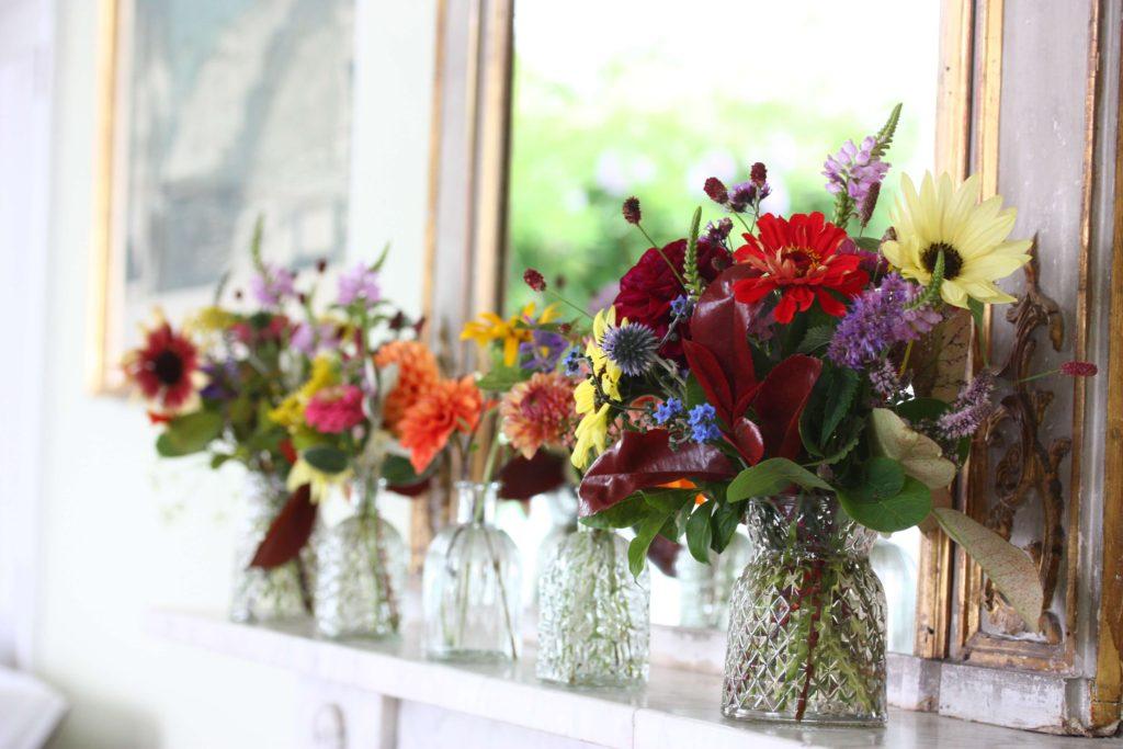 Bud vase floral mantelpiece