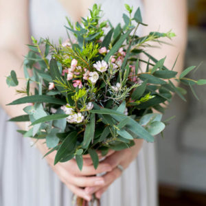 Foliage and pale pink Waxflower Bridesmaid Bouquet